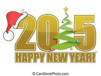 2015 happy new year tree sign