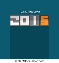 2015 - Happy New Year Vector Illustration on Blue Background
