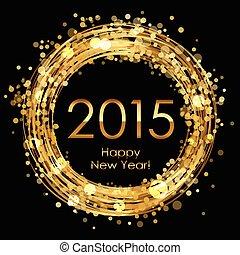 2015, incandescent, vecteur, fond