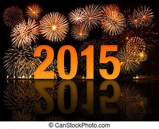 2015, jaar, viering, met, vuurwerk