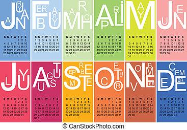 2015 jazzy calendar - Colorful jazzy 2015 calendar, vector,...