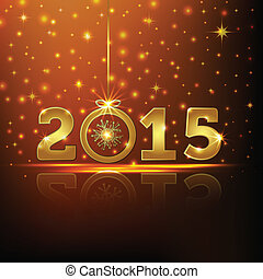 2015, kaart, groet, gouden, jaar