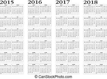 2015, kalender, 2018