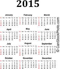 2015, kalender