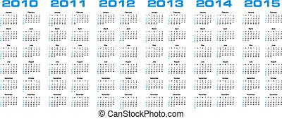 2015, kalender, genom, 2010