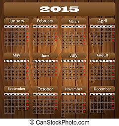 2015, kalender, hout, vector
