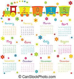2015, kalender, met, de trein van het stuk speelgoed, en, bloemen
