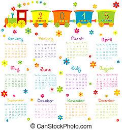 2015, kalender, mit, spielzeugeisenbahn, und, blumen