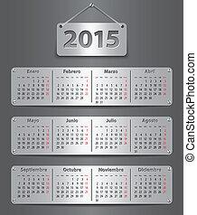 2015, kalender, spansk