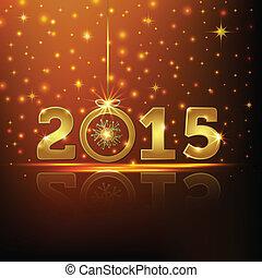 2015, kort, hälsning, gyllene, år