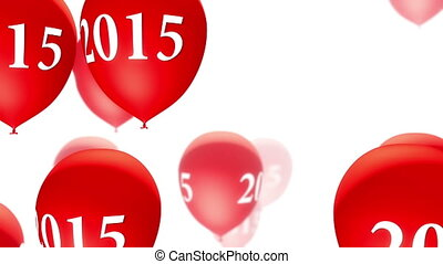 2015, (loop), weißes, luftballone, rotes