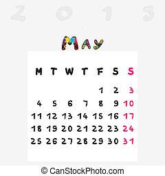 2015, mai, calendrier