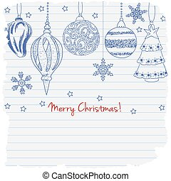 2015, Merry Christmas greeting card with cute Christmas balls