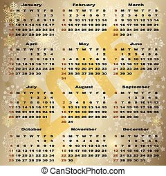 2015 New Year Gold Calendar
