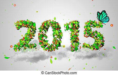 2015 New Year Leaves Particles Blue
