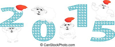 2015 new year, sheep. vector illustration
