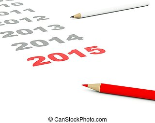 2015 New year sign with pencils