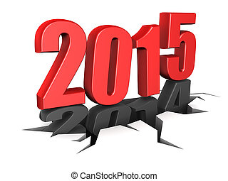 2015 new year - abstract 3d illustration of 2014 year...