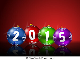 2015 new years greeting card with christmas balls