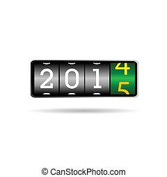 2015, nieuw, toonbank, illustratie, jaar