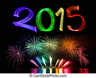 2015, nouveau, feux artifice, veille, année