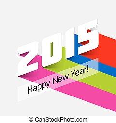 2015, nouveau, heureux, carte, année