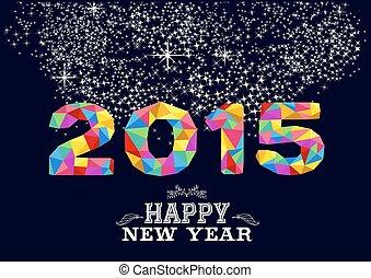 2015, nouvel an, conception, affiche