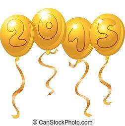 2015, novo, balões, ano