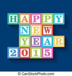 2015, novo, feliz, cartão, ano