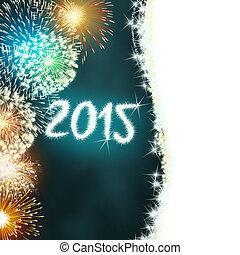 2015, novo, fogo artifício, feliz, ano