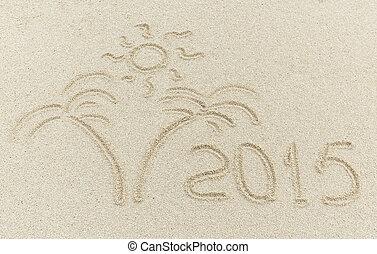 2015, novo, mensagem, praia, ano