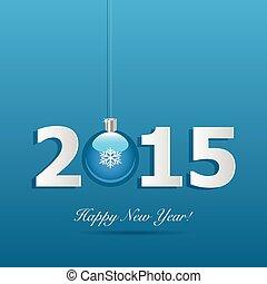 2015, nuevo, feliz, ilustración, año