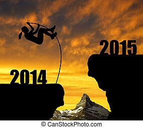 2015, nuevo, saltos, niña, año