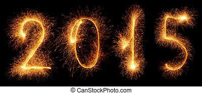 2015, nuevo, sparkler., año