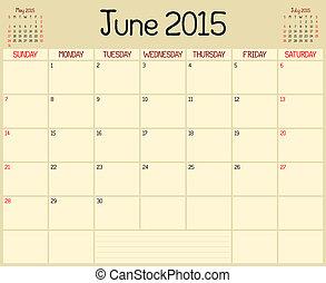 2015, planificateur, juin, année