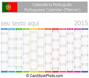 2015, portoghese, calendario, pianificatore, ve