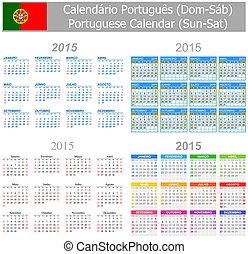 2015, portugués, calendario, mezcla, sun-sa