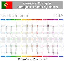2015 Portuguese Planner-2 Calendar Vertical Months on white...