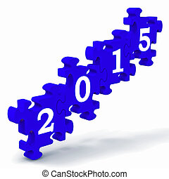 2015, puzzle, annuale, resolutions, mostra