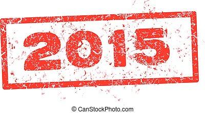 2015, rød, frimærke, tekst, isoleret, på hvide, baggrund