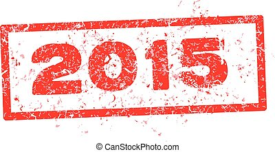 2015, rood, postzegel, tekst, vrijstaand, op wit, achtergrond