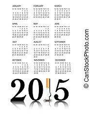 2015, sluta, kalender, rökning