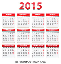 2015 Spanish calendar - Red glossy calendar for 2015 year in...