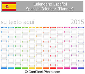 2015 Spanish Planner Calendar with Vertical Months on white...