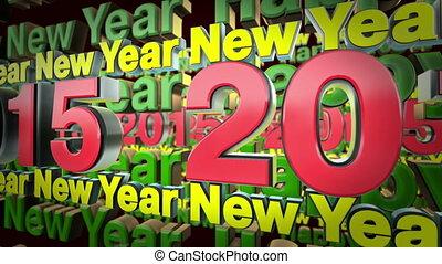 2015, tekst, lus, jaar, animatie, nieuw