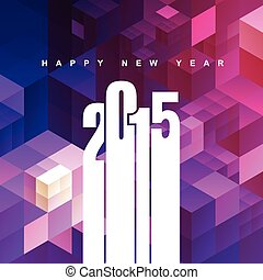 2015 text with abstract pink and purple background