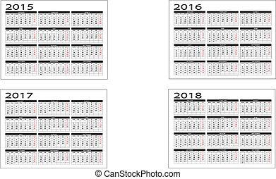 2015 to 2018 calendar