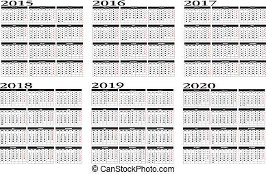 2015 to 2020 calendar - New calendar 2015 to 2020 in english