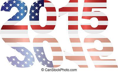 2015 USA Flag Numbers Outline Illustration