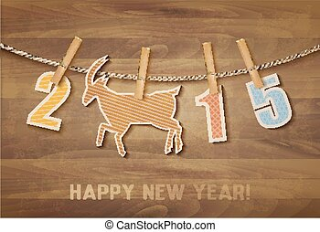 2015 with a goat on wooden background. Vector.